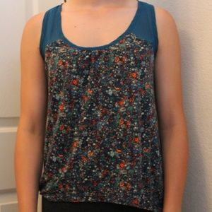 Floral Tank Top with Sheer Detailing